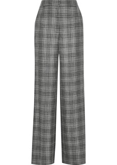 Adam Lippes Woman Checked Wool Silk And Linen-blend Wide-leg Pants Anthracite
