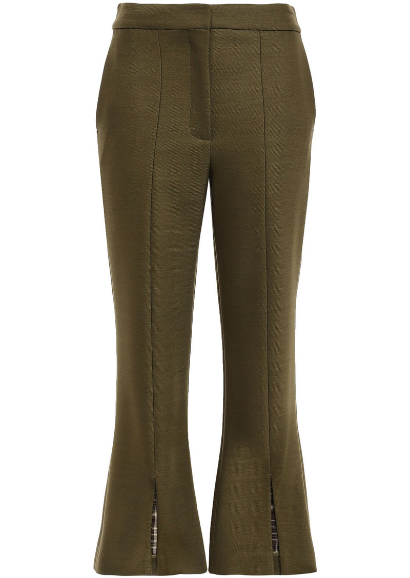 Adam Lippes Woman Split-front Twill Kick-flare Pants Army Green