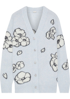 Adam Lippes Woman Crystal-embellished Intarsia Cashmere And Silk-blend Cardigan Light Blue
