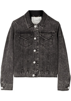 Adam Lippes Woman Faux Pearl-embellished Stretch-denim Jacket Black