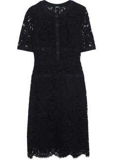 Adam Lippes Woman Grosgrain-trimmed Cotton-blend Corded Lace Mini Dress Black