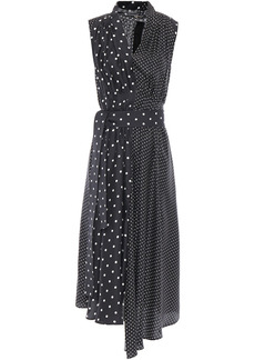 Adam Lippes Woman Paneled Pleated Polka-dot Silk-twill Midi Dress Black