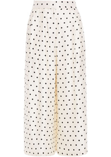 Adam Lippes Woman Pleated Polka-dot Silk-twill Culottes Ivory
