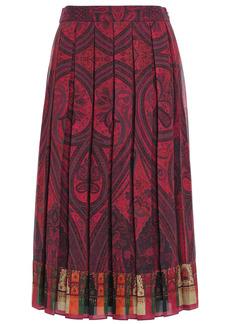 Adam Lippes Woman Pleated Printed Crepe Midi Skirt Brick