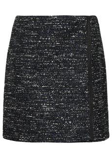 Adam Lippes Woman Wrap-effect Bouclé-tweed Mini Skirt Navy