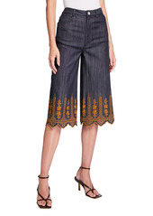 Adam Lippes Denim Broderie Anglaise Culottes