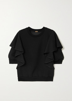 Adam Lippes Silk-trimmed Ruffled Jersey Sweatshirt
