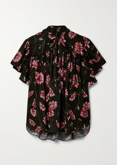 Adam Lippes Tie-neck Floral-print Crepe De Chine Top