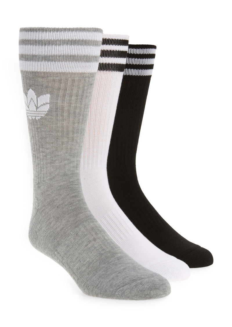 adidas Originals 3-Pack 3-D Ribbed Crew Socks
