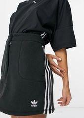 adidas Originals Adicolor high waist 3-Stripes fleece mini skirt in black