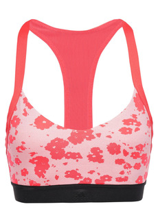 Adidas Woman All Me Mesh-trimmed Floral-print Stretch Sports Bra Coral