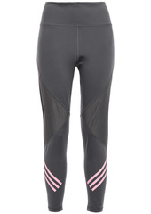 Adidas Woman Cropped Mesh-paneled Striped Stretch Leggings Anthracite
