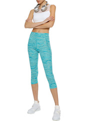 Adidas Woman Cropped Printed Stretch Leggings Jade