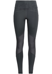 Adidas Woman Mesh-paneled Stretch-jersey Leggings Dark Gray