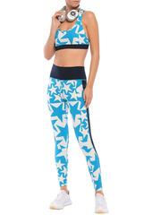Adidas Woman Printed Stretch Leggings Azure