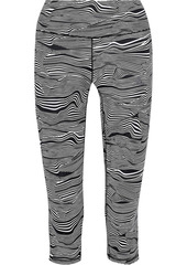 Adidas Woman Ultimate Cropped Printed Stretch-climalite Leggings Black