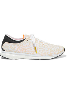 Adidas By Stella Mccartney Woman Adizero Adios Neoprene And Appliquéd Mesh Sneakers Blush