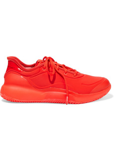 Adidas By Stella Mccartney Woman Court Boost Rubber-trimmed Neoprene Sneakers Red