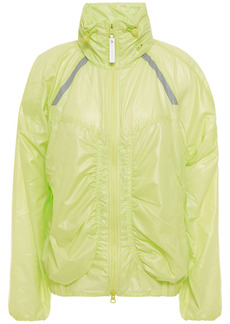 Adidas By Stella Mccartney Woman Ruched Neon Shell Track Jacket Chartreuse