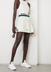 Adidas Striped Pleated Recycled Pique Mini Skirt