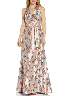 Adrianna Papell Jacquard A-Line Gown