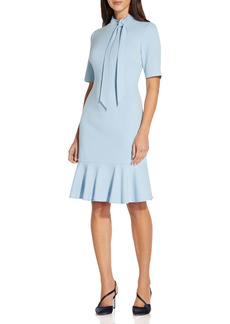 Adrianna Papell Tie Neck Short Sleeve Crepe Sheath Dress