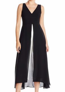 Adrianna Papell Women's Sleeveless V Neck Culotte Jumpsuit