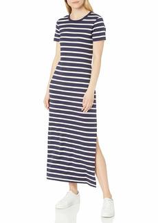 AG Adriano Goldschmied Women's Alana Short Sleeve Maxi Dress DEEP Aegean/Ivory DUST S