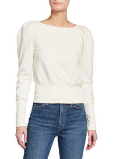 AG Adriano Goldschmied Walker Puff-Sleeve Boat-Neck Sweater