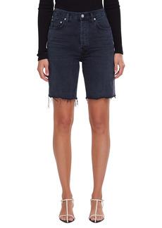 AGOLDE '90s Pinch High Waist Frayed Hem Denim Bermuda Shorts (Nix)
