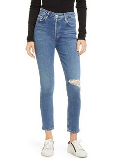 AGOLDE Nico Distressed High Waist Skinny Ankle Jeans (Shoreline)