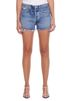 AGOLDE Parker Distressed High Waist Organic Cotton Denim Shorts (Swapmeet Dark)
