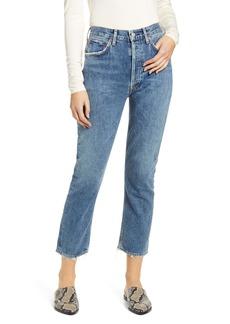 AGOLDE Riley High Waist Crop Straight Leg Jeans (Frequency)