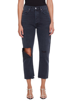 AGOLDE Riley Ripped Crop Straight Leg Jeans (Contraband)