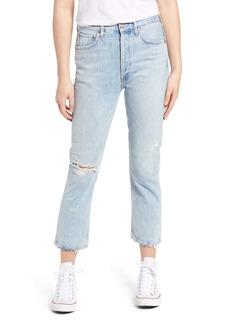 AGOLDE Riley Ripped High Waist Crop Straight Leg Jeans
