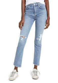 AGOLDE Riley Ripped Super High Waist Crop Straight Leg Jeans (Whiplash)