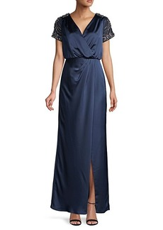 Aidan Mattox Embellished-Sleeve Wrap-Effect Gown