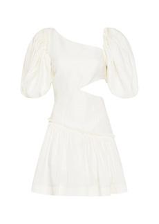 Aje - Women's Chateau Asymmetric Cutout Linen-Blend Mini Dress - White/yellow - Moda Operandi
