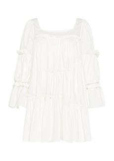 Aje - Women's L'Espirit Tiered Cotton Mini Dress - White/red - Moda Operandi