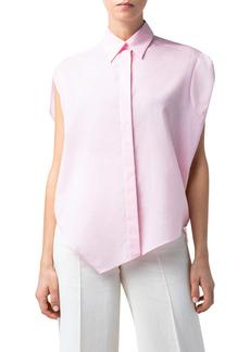 Akris Asymmetrical Cotton Voile Tunic Shirt