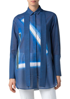 Akris Blue Angel Abstract Oversize Button-Up Tunic
