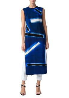 Akris Blue Angel Print Silk Crêpe de Chine Front Long Tunic
