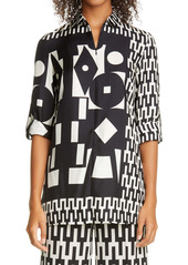 Akris Cube Print Silk Twill Tunic