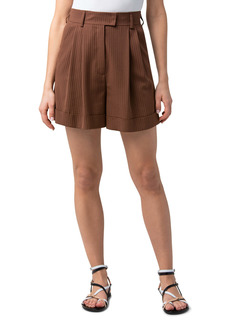 Akris Firis Herringbone Stripe Pleat Front Shorts