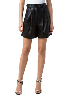 Akris Firis Pleat Front Leather Shorts