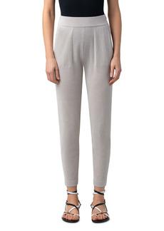 Akris Metallic Silk & Organic Cotton Blend Ankle Sweater Joggers