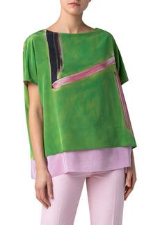 Akris Oversize Print Silk Tunic Blouse