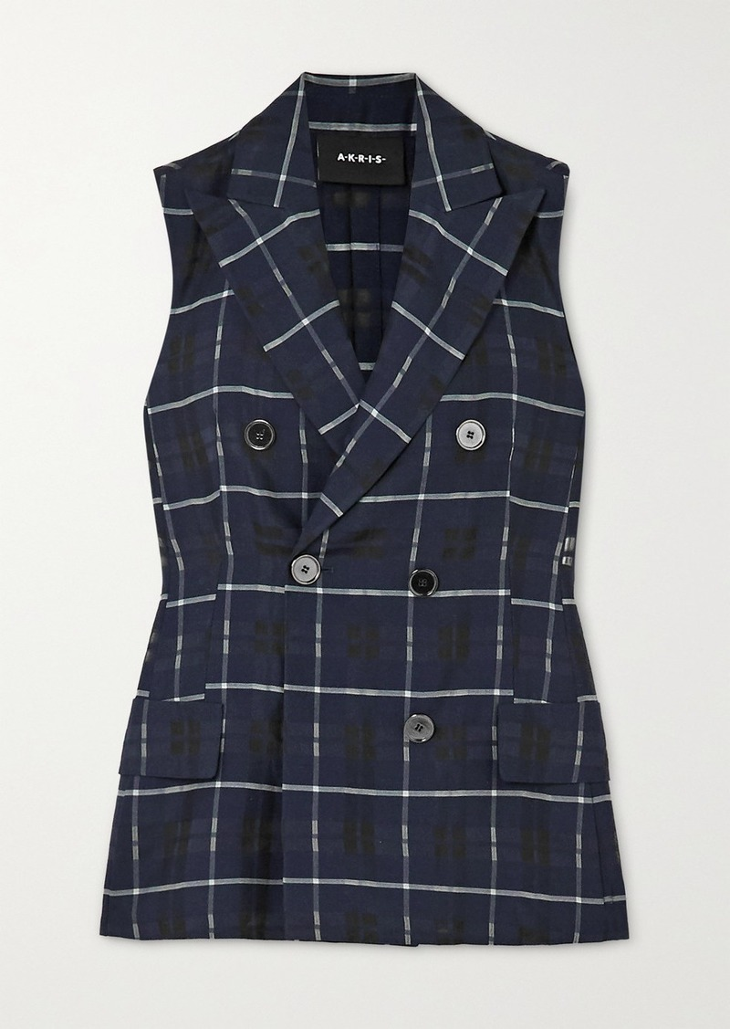 Akris Gerno Double-breasted Checked Cotton And Silk-blend Vest