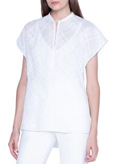Akris Plaid-Jacquard Cap-Sleeve Tunic