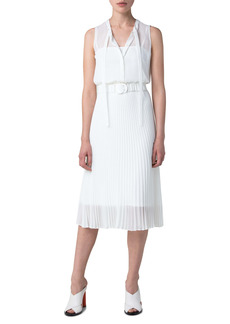 Akris punto Belted Plissé A-Line Midi Dress